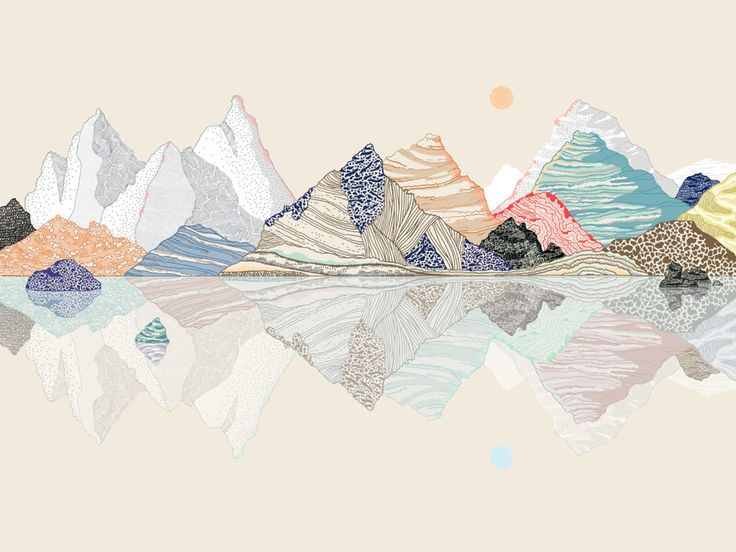 landscape MOUNTAINS REFLECTION (off white) size A4