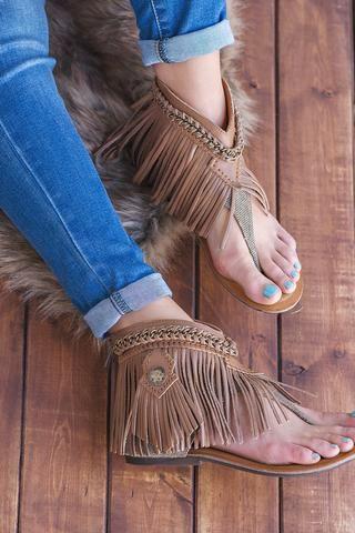 A Little Bit Of Boho Naughty Monkey Fringe Leather Sandals - NanaMacs.com -  1
