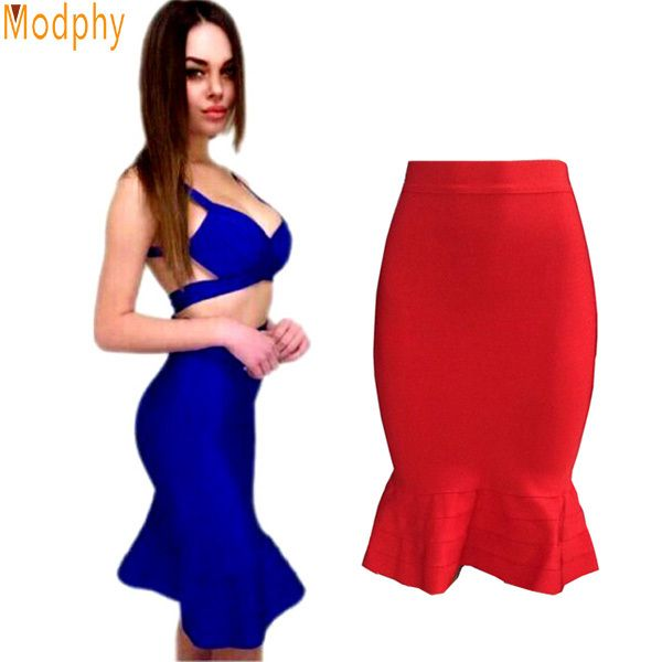 New women good elastic celebrity bandage skirt sexy solid blue black red stretch trumpet / mermaid skirt drop ship HL414