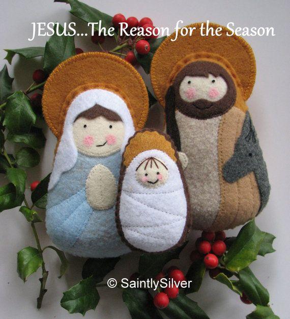 QUICK SHIP... Small Nativity Felt Saint Softie Set