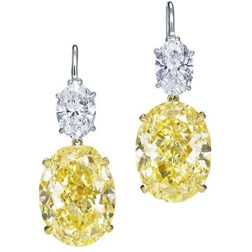 Harry Winston - One of a Kind - Yellow Diamond Drop Earrings! - WOW!