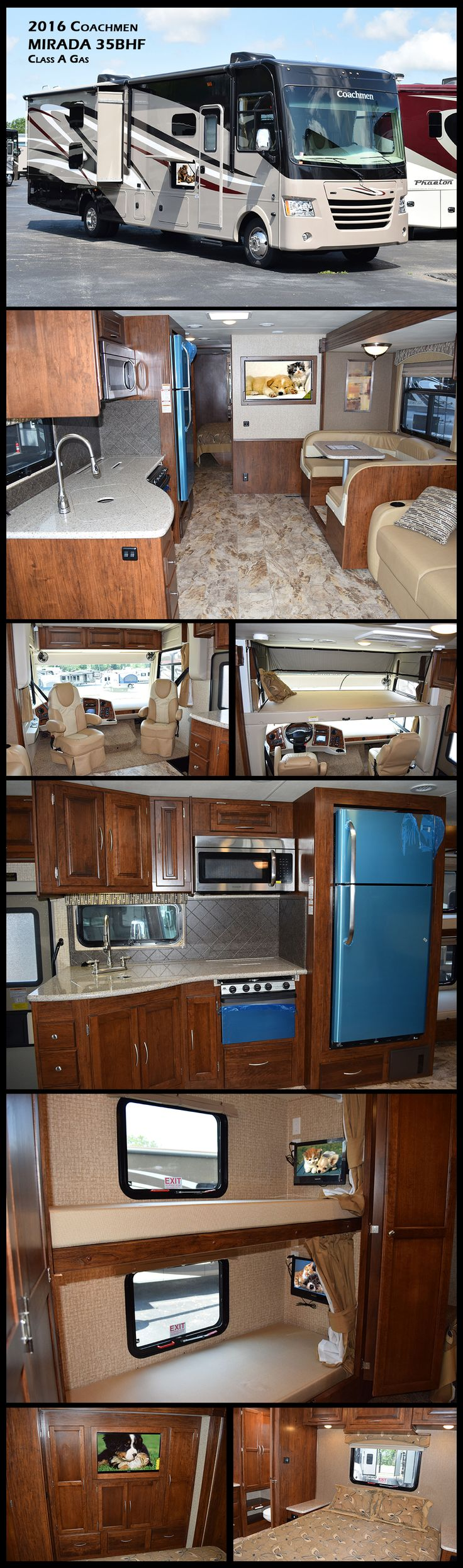 """2016 COACHMEN MIRADA 35BHF Class A Gas Motorhome definitely """"brings MORE to the road"""" for LESS! With a long standard feature list that includes item such as; Corian kitchen countertops, Corian sink covers, hard wood cabinet doors with raised panel inserts, automatic leveling jacks, two 13,500BTU air conditioners, 50 amp service, 32"""" TV in living room and a bedroom TV, plus ample pass through exterior storage. This 35BH also feature bunk beds that can convert into a wardrobe."""