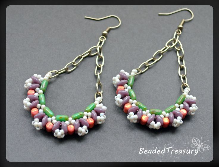 "BeadedTreasury - beadwoven earrings ""Inflorescence"" / A design with Superduo, Rulla, Czechmates tile beads and seed beads 11/0 / Beading tutorial / Bead pattern. Tutorial available following the link: https://www.etsy.com/listing/204096055/inflorescence-beadwoven-earrings?ref=shop_home_active_1"