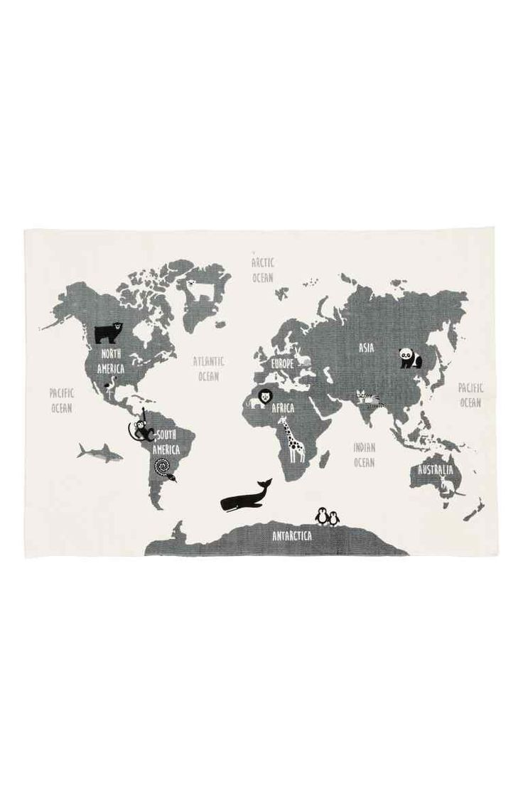 World map-motif cotton rug - White/Animal - Home All | H&M 1