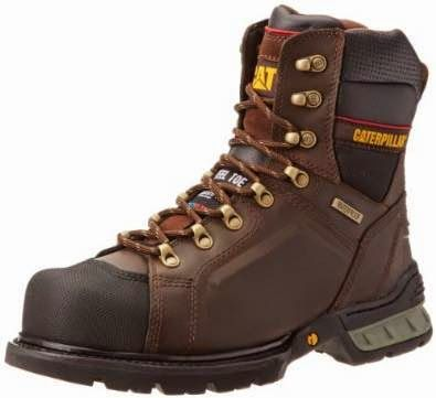 Caterpillar Men's Excavator 8 Inch WP FF Work Boot,Dark M US Astm Steel Toe  Waterproof full grain leather upper Nylon mesh lining