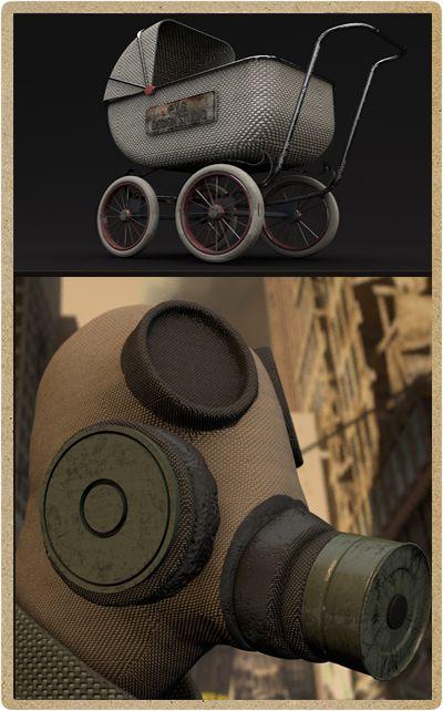 3D Scene and Character creati per un contest per videogame e ambienti. L'ambiente e gli oggetti dovevano essere immersi in ambiente post-apocalittico misto horror. Realizzato da P.Y.G. Italy