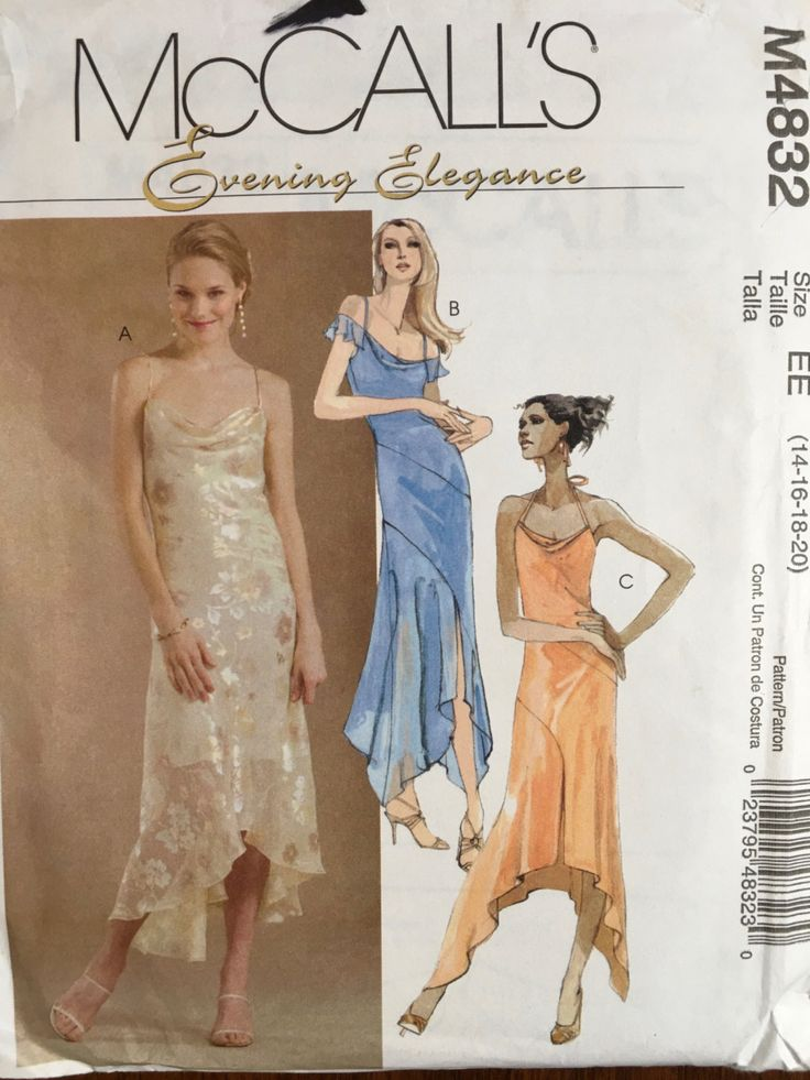 McCall's M4832 Evening Elegance Draped Neckline Dress Cocktail Salsa Hi Lo Hem Size 14 16 18 20 Uncut2005 Prom Dress by weseatree on Etsy