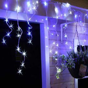 180 Blue U0026 White LED Snowing Icicle Lights #ukchristmasworld #blue #icicle  #snowing