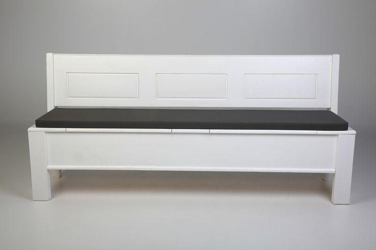 Strak model klepbank of kerkbank, afgewerkt in antiek wit. houtsoort: grenen nieuw nagemaakt? eur 130 woonloods1.nl