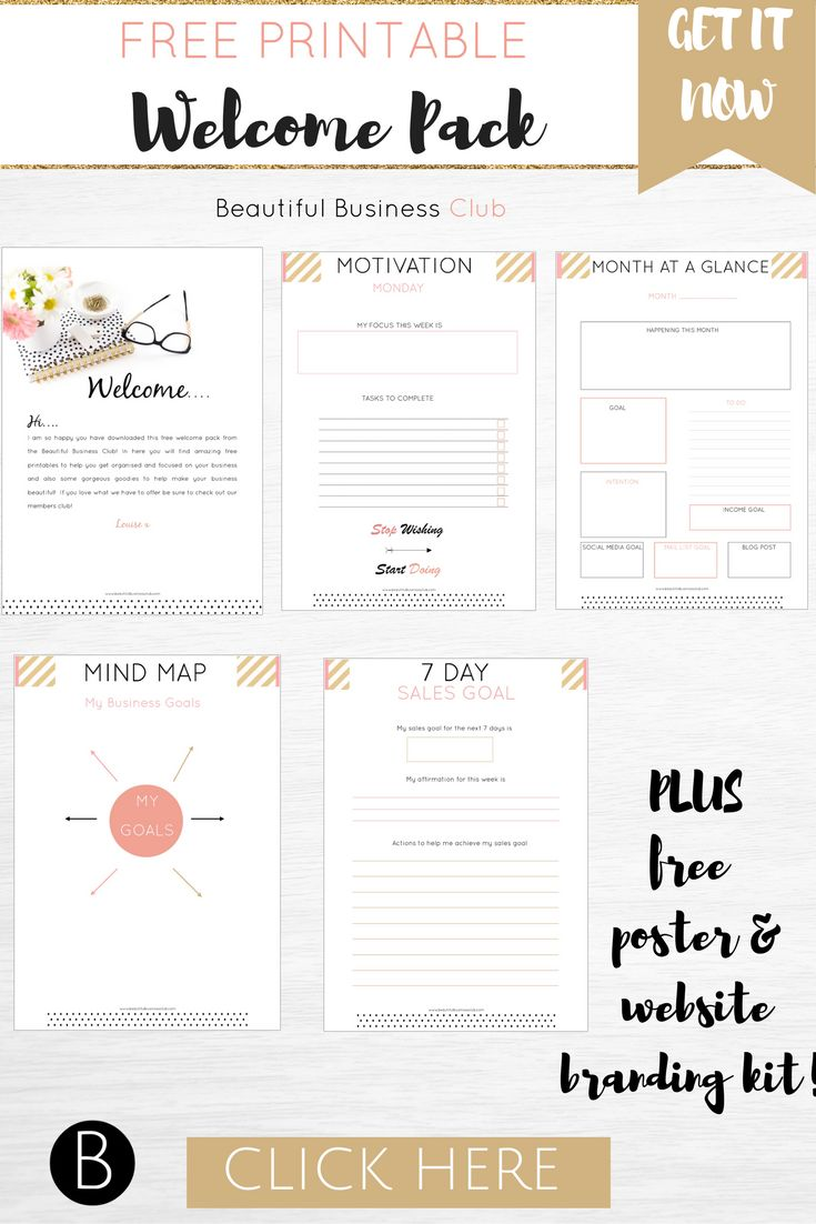 Download your free printable welcome pack instantly! Get 4 beautiful printable pages to help you get motivated and organised in your business now