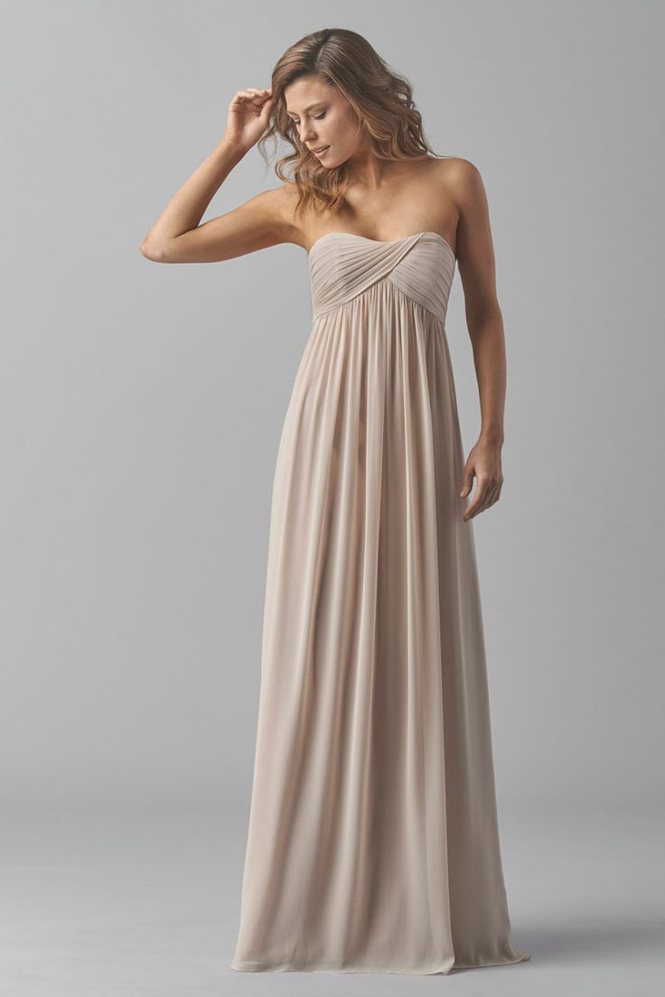 Vintage a-line floor length long crinkle chiffon bridesmaid dress was features strapless sweetheart twisted bodice and empire waist.