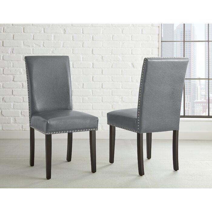 Groveland Upholstered Parsons Chair In Gray Black Upholstered