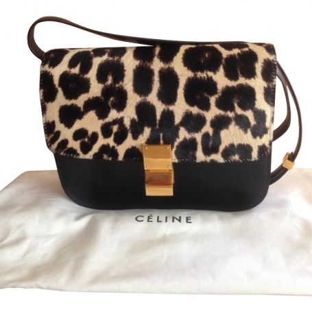 Leopard pony hair medium flap classic black box bag CELINE Noir ...