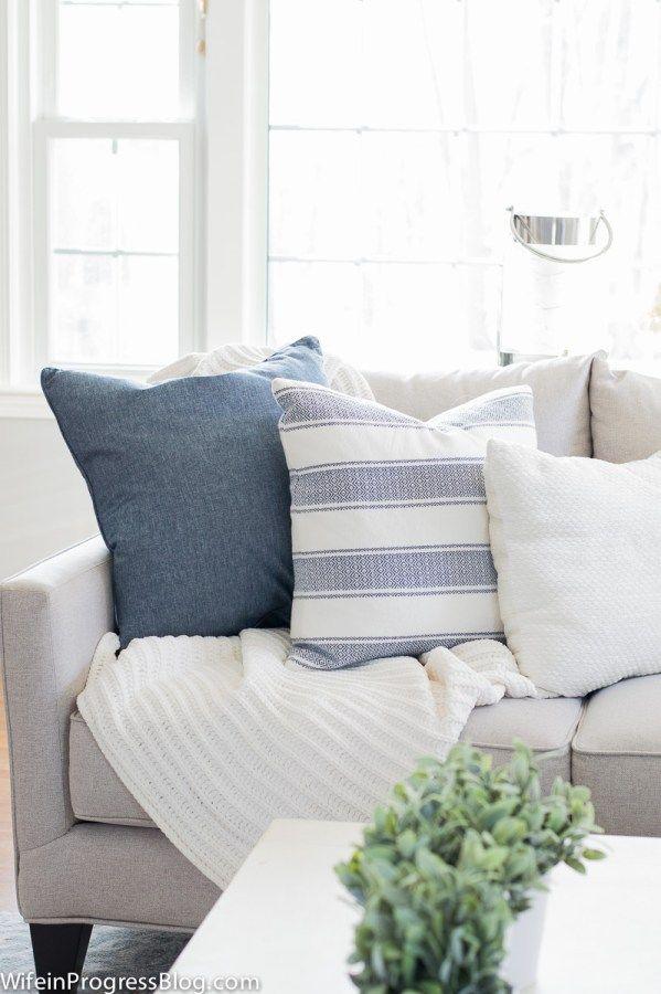 neutral living room   blue color palette   farmhouse style   living room decor ideas