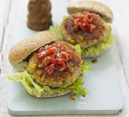 Tuna Burgers ~ 15 mins ~ Per Serving:  262 calories, protein 22g, carbohydrate 21g, fat 11 g, saturated fat 3g, fibre 1g, sugar 5g, salt 0.87 g  ~ Replace white bread with whole-grain | Use mozzarella in place of cheddar | Use olive oil, and fry at a low heat
