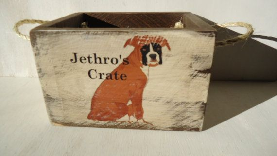 These Handmade Boxes are made from 3/4 reclaimed wood with rope handles. These crates will be personalized with your dogs name. Other common dog