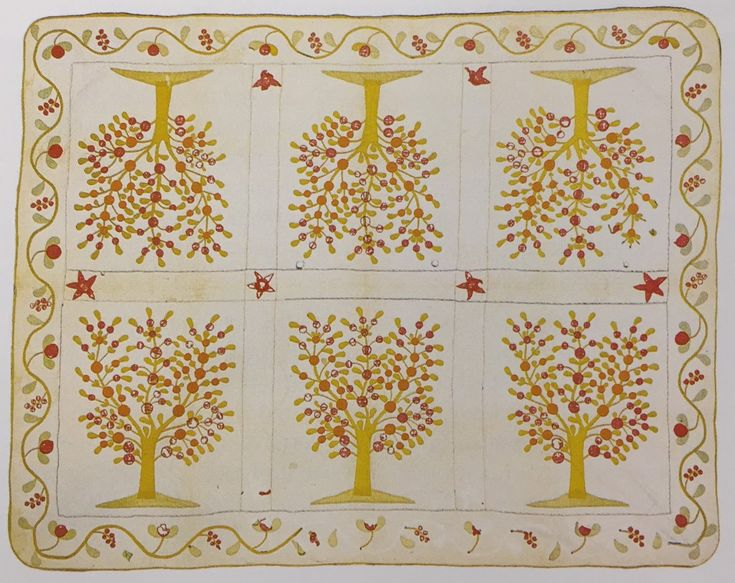 Tree of Knowledge, maker unknown, c. 1860, cotton. Source: Plain and Fancy: County Quilts of the Pennsylvania-Germans, Anita Schorsch.