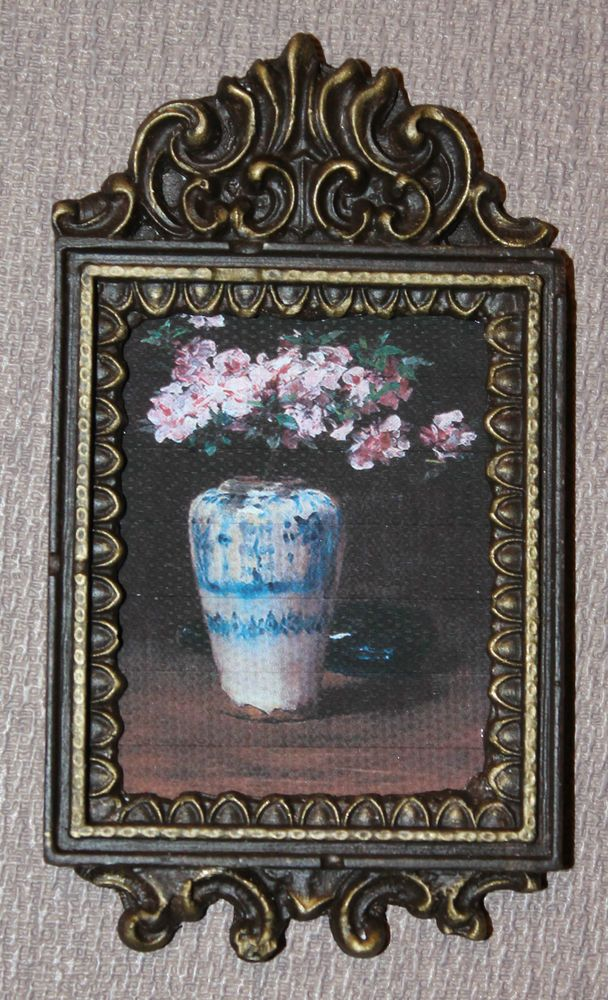 DOLLHOUSE+MINIATURE+Painting/+Picture+#+101+Blue+and+White+Vase+with+Flowers