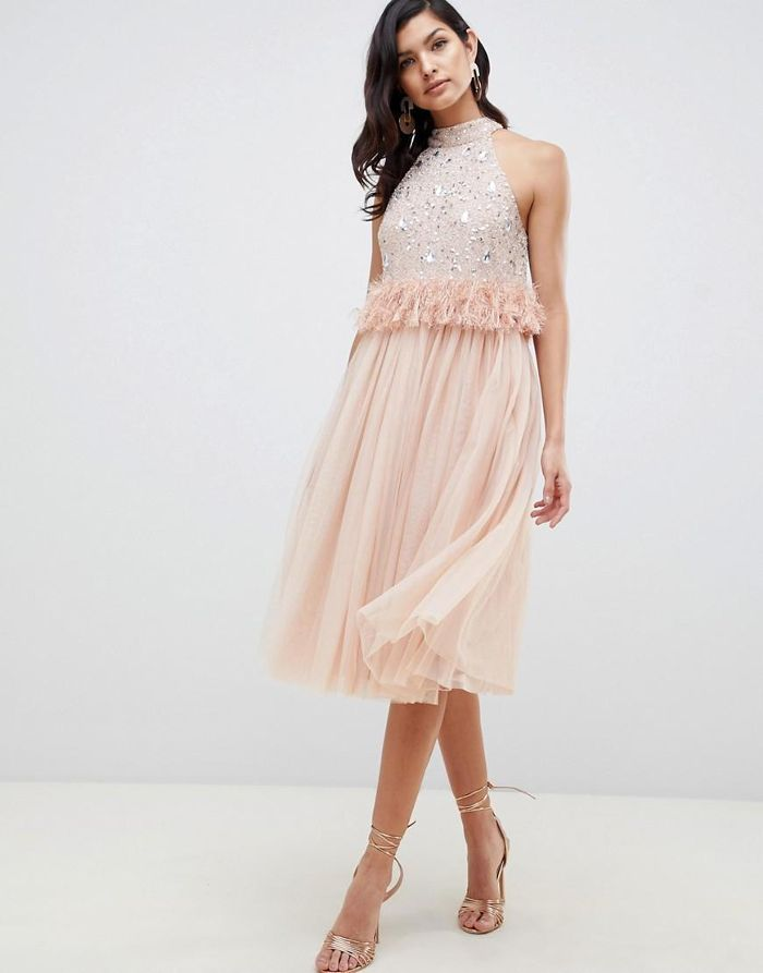 9af5db071804 20 embellished dresses just in time for holiday season. ASOS Design  Embellished Sequin Tulle Midi Dress With Faux Feather Trim