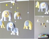 Elephant Mobile - Baby Mobile - Elephant Baby Mobile - Neutral Mobile - Yellow and Gray Baby Mobile - You can pick your colors :). $88.00, via Etsy.