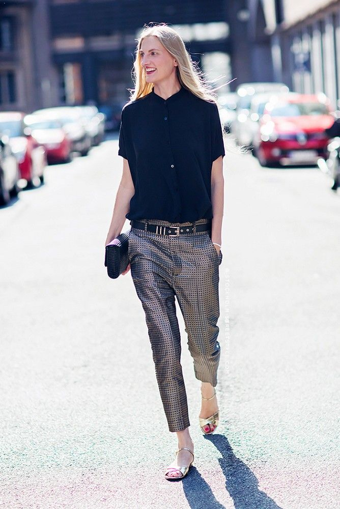 Metallic cropped trousers + fully buttoned shirt. // #StreetStyle