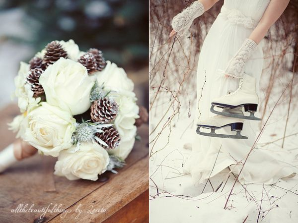 At this point, I'm liking the idea of a white rose bouquet.  Finally found this one with pine cones, which I hadn't thought of before!  Love it!!