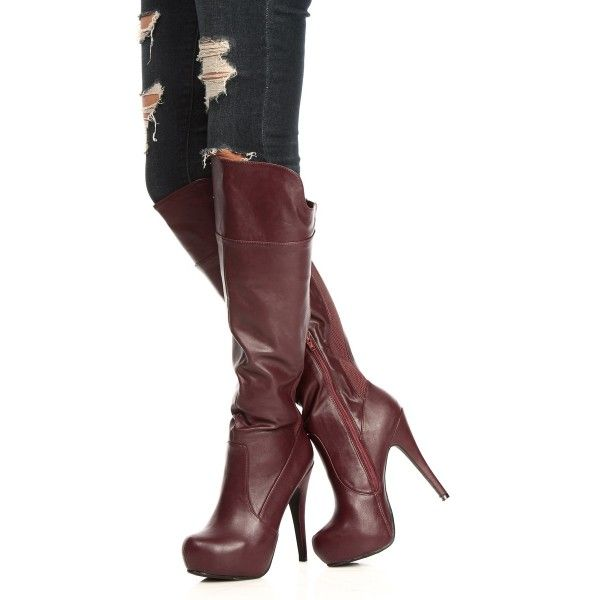 71185f0b668 Maroon Platform Boots Stiletto Heels Knee High Boots for Formal ...