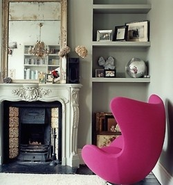 : Discos Ball, Eggs Chairs, Interiors Design, Pink Chairs, Hot Pink, Accent Chairs, Pink Accent, Arne Jacobsen, Color Trends