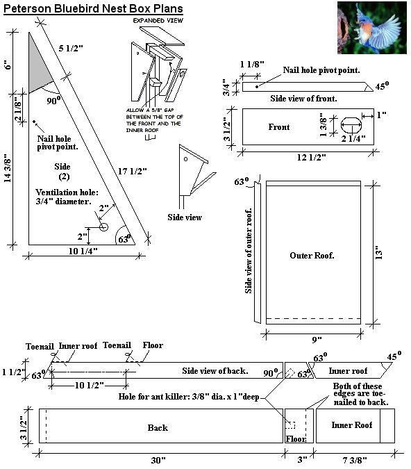 peterson bluebird bird house plans diy birdhouses