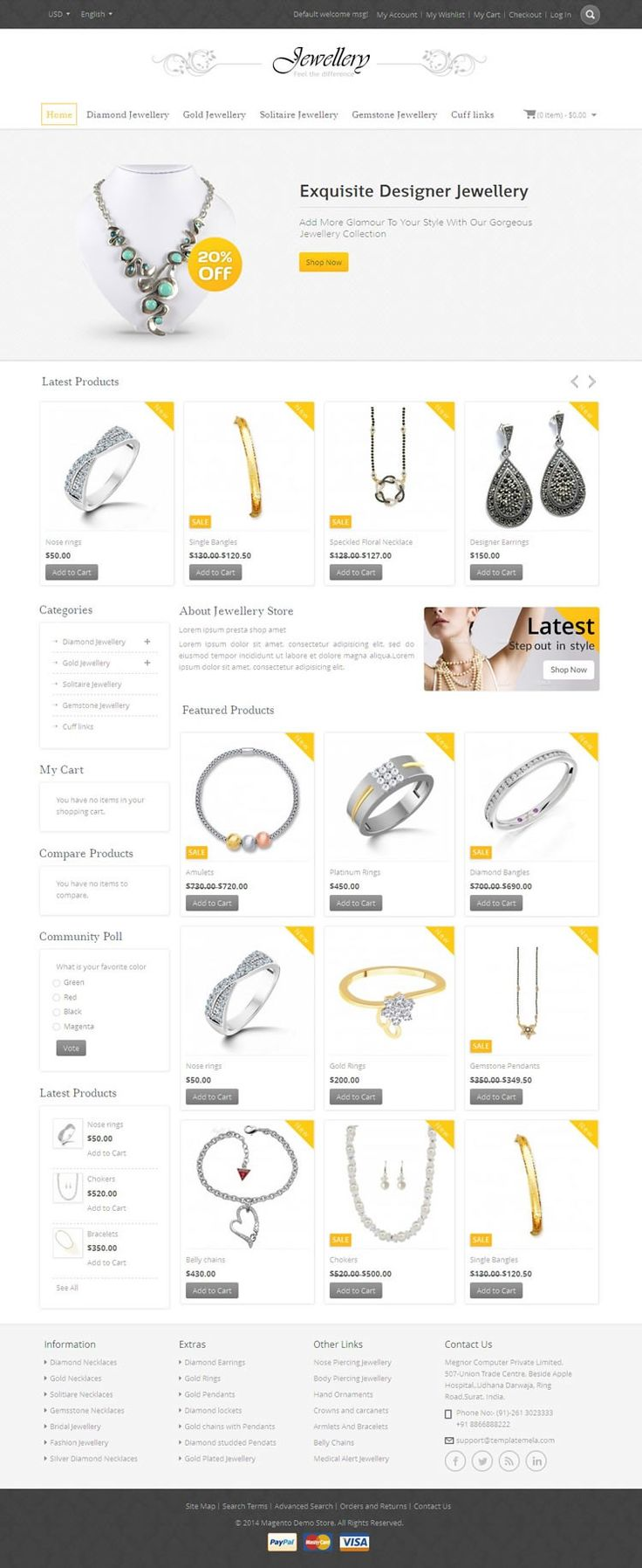 Jewellery #Magento #Template is designed for jewellery, watches, cosmetic, apparel and clothes store. Jewellery Magento Template is looking great with colors. All sub pages are customized. It is very nice with its clean and professional look. http://www.templatemela.com/jewellery-magento-template.html