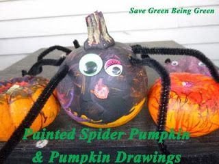 Make a Painted Spider Pumpkin and Pumpkin Drawings for Halloween. Easy Kids Craft!