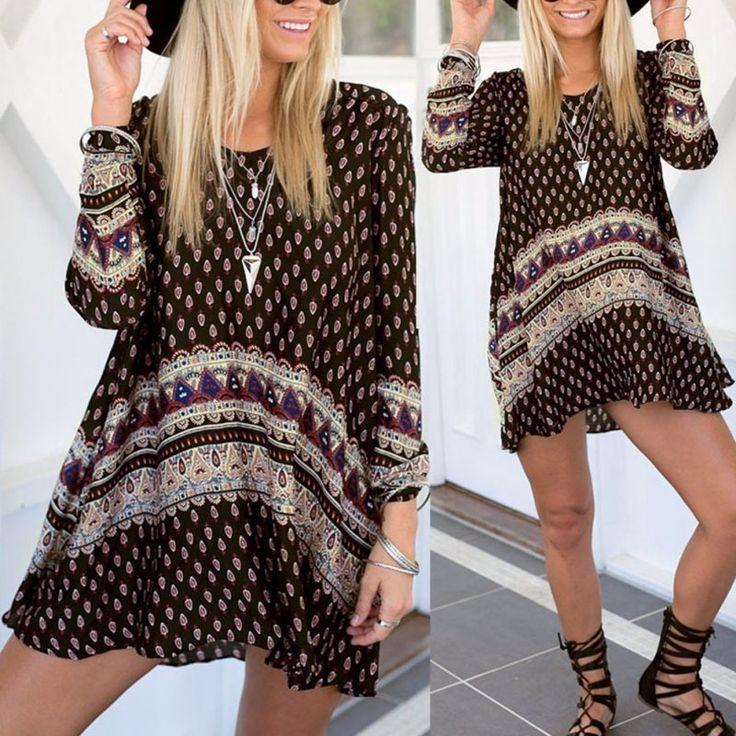 2016 Bayanlar Vintage Retro Bohem Stili Boho Yaz Plaj Uzun Kollu Mini Elbise H78 LL2 - http://www.geceelbisesi.com/products/2016-bayanlar-vintage-retro-bohem-stili-boho-yaz-plaj-uzun-kollu-mini-elbise-h78-ll2/