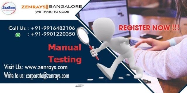 We provide the best Manual Testing Training in Bangalore. Register for Hands-on Training, work on Manual Testing Live Project in Bangalore. Classroom or Online Training in Bangalore.   Call +91 9916482106, WhatsApp +91 9901220350, Write to corporate@zenrays.com.   Check out course contents at http://zenrays.com/manual-testing-training-in-bangalore