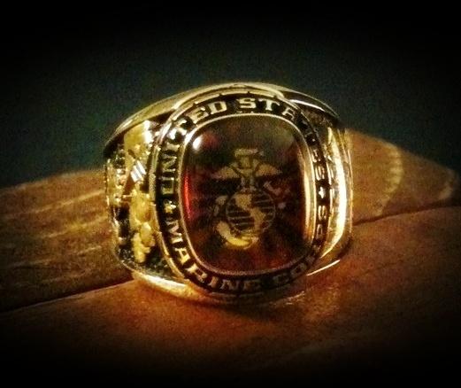 Gold Tungsten Marine Corps Ring