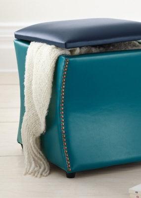 Two-tone Leather Storage Ottoman.