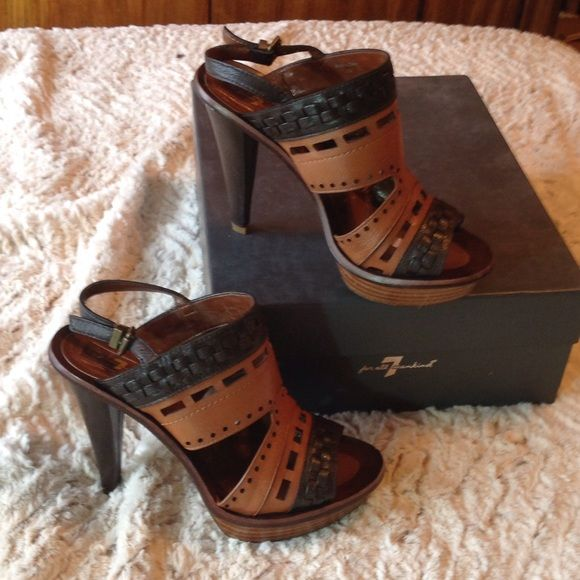 """Lucky Brand Two Toned Heels Dark brown and whiskey leather. Size 7. 4 1/2"""" heel. Adjustable ankle strap. Smoke-free home. 7 for all Mankind Shoes Platforms"""