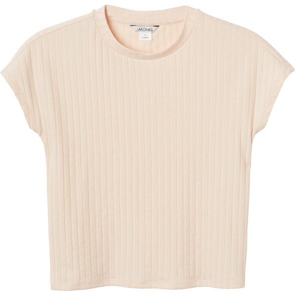 Monki Margo top (475 THB) ❤ liked on Polyvore featuring tops, t-shirts, shirts, clothes - tops, peach fuzz, pink t shirt, peach t shirt, ribbed t shirt, pink crop top and crop top