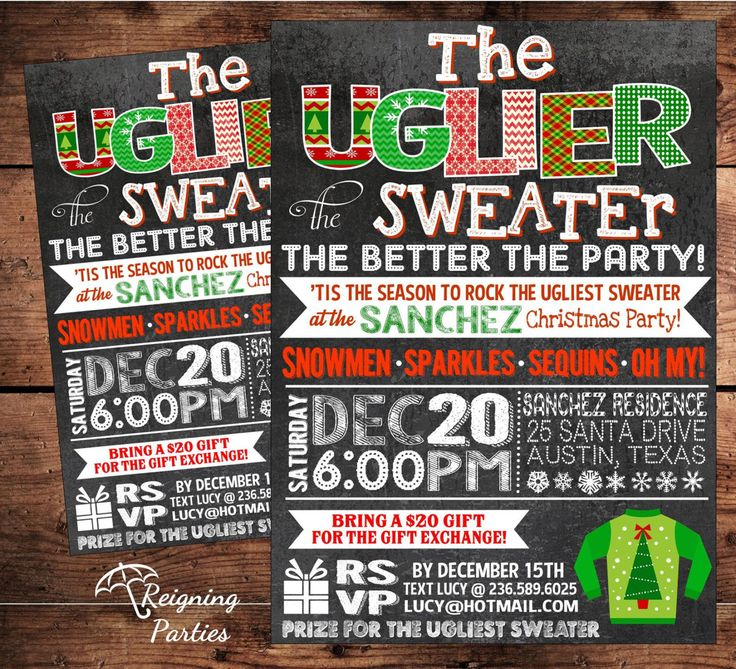 38 best Invitations for an Ugly Christmas Sweater Party images on ...