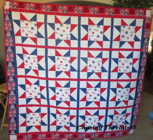 """University of Arizona (U of A) college Handcrafted Lap quilt 57"""" x 57"""""""