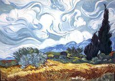 """Campo de trigo con ciprés"", de  Vincent van Gogh"