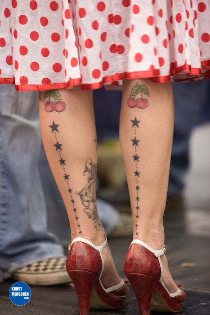 Cherries and stars ~ rockabilly tattoos                                                                                                                                                                                 More