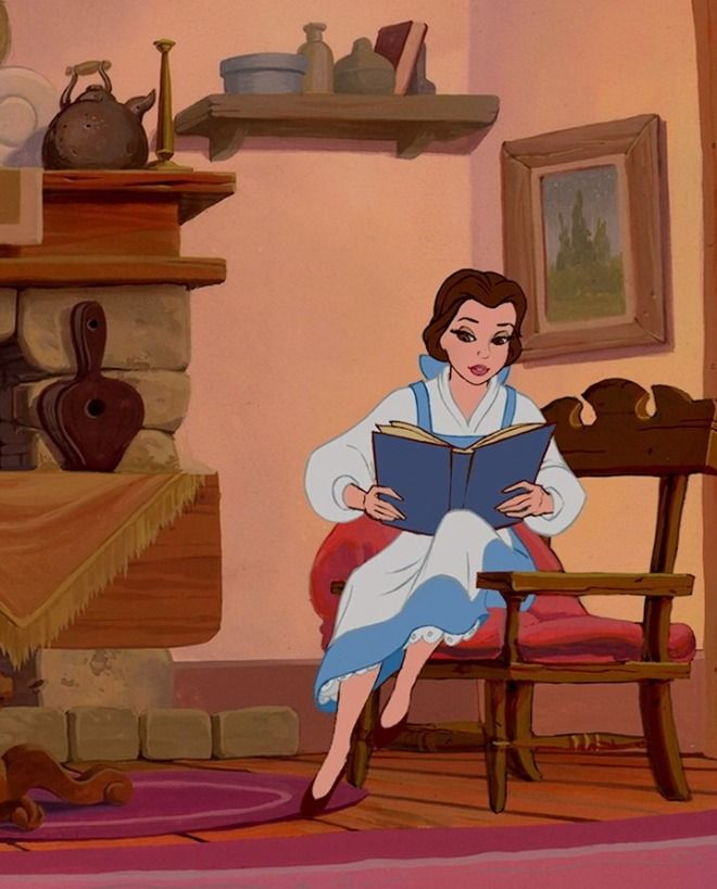 Here we see a pause as Belle is putting down the book- probably trying to finish one more sentence before getting up to see who was at the door.  A moment all bookworms know too well!