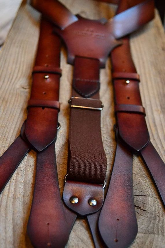 Leather suspenders men's suspenders leather by JKLeatherWorkshop