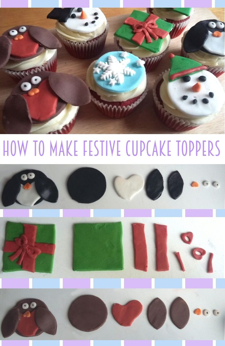 Learn how to make cute festive cupcake toppers, no expertise required, no professional tools needed. Simple and easy cake decorating tutorial. Christmas present, penguin, robin and snowmen - delicious!