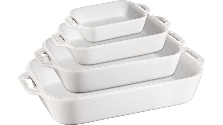 Juego de fuentes cerámicas blancas - Si te gusta hacer lasaña, canelones, pescado o pasteles, este juego de 4 fuentes cerámicas es el complemento perfecto para su cocina. El set incluye varias fuentes