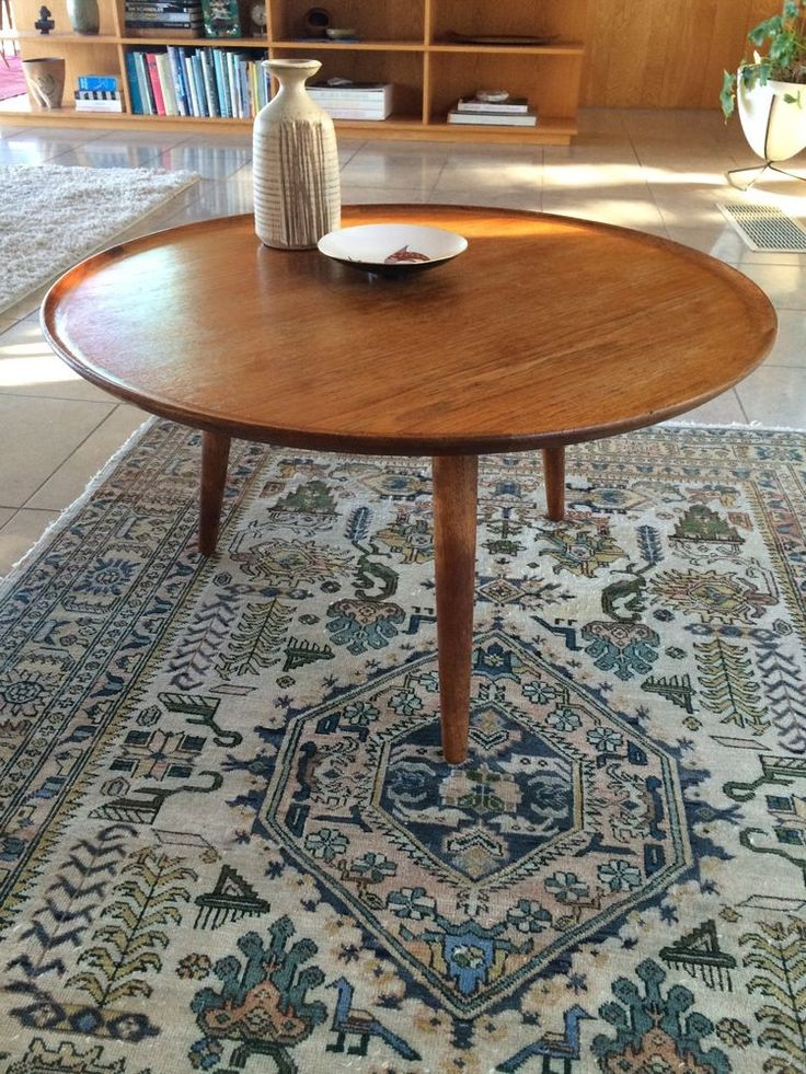 Mid century danish modern teak round coffee side table teak coffe table and round tables Modern teak coffee table