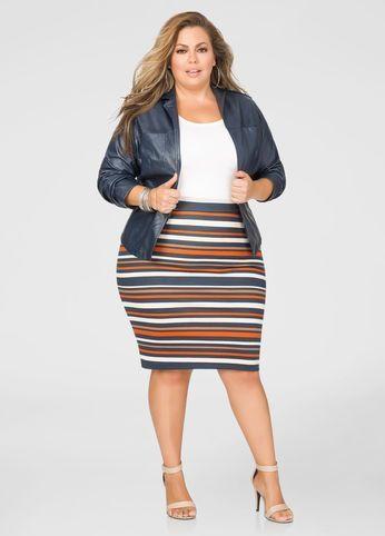 Plus Size Striped Ponte Pencil Skirt