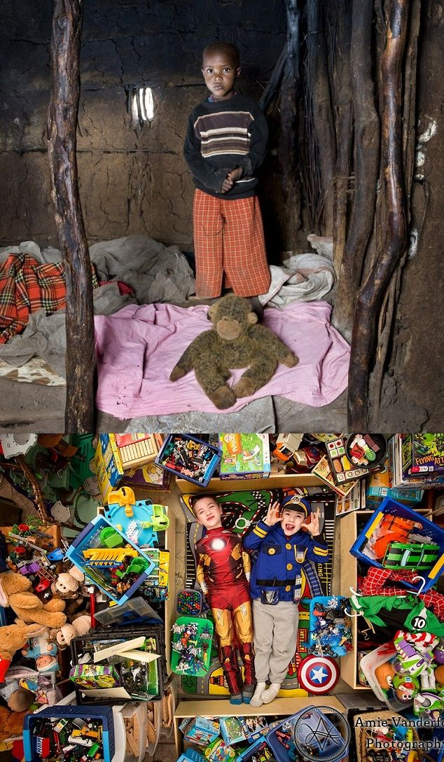 Children with their toys (poor children and families vs. rest of the world)