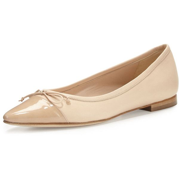 Manolo Blahnik Wendy Pointed-Toe Ballerina Flat ($730) ❤ liked on Polyvore featuring shoes, flats, nude, ballet pumps, nude flat shoes, ballet flat shoes, pointy toe ballet flats and nude shoes
