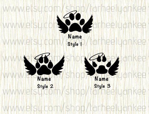 Dog Paw Halo Vinyl Car Decal Custom Personalized Pet Memorial
